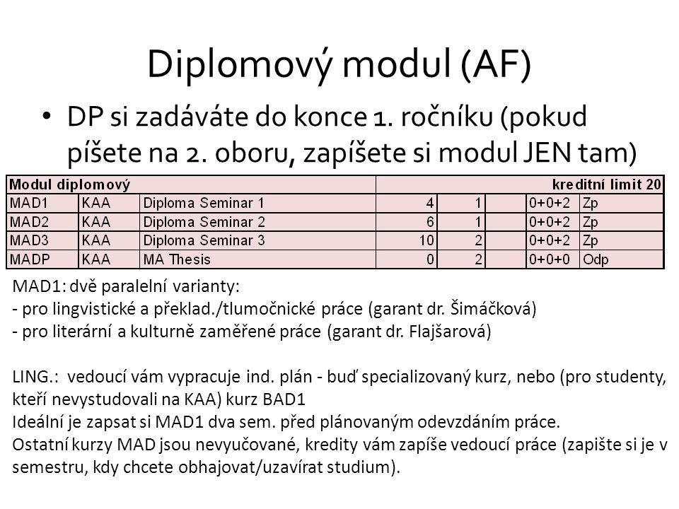 Diplomový modul (AF) DP si zadáváte do konce 1. ročníku (pokud píšete na 2. oboru, zapíšete si modul JEN tam) MAD1: dvě paralelní varianty: - pro ling