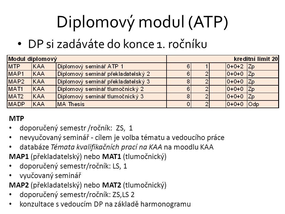 Diplomový modul (ATP) DP si zadáváte do konce 1. ročníku MTP doporučený semestr /ročník: ZS, 1 nevyučovaný seminář - cílem je volba tématu a vedoucího