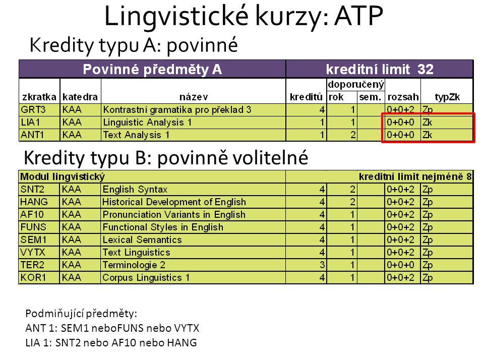 Lingvistické kurzy: ATP Kredity typu A: povinné Kredity typu B: povinně volitelné Podmiňující předměty: ANT 1: SEM1 neboFUNS nebo VYTX LIA 1: SNT2 neb