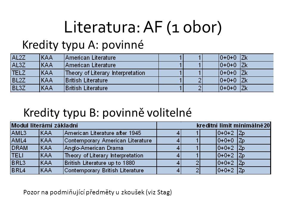 Literatura: AF (1 obor) Kredity typu A: povinné Kredity typu B: povinně volitelné Pozor na podmiňující předměty u zkoušek (viz Stag)
