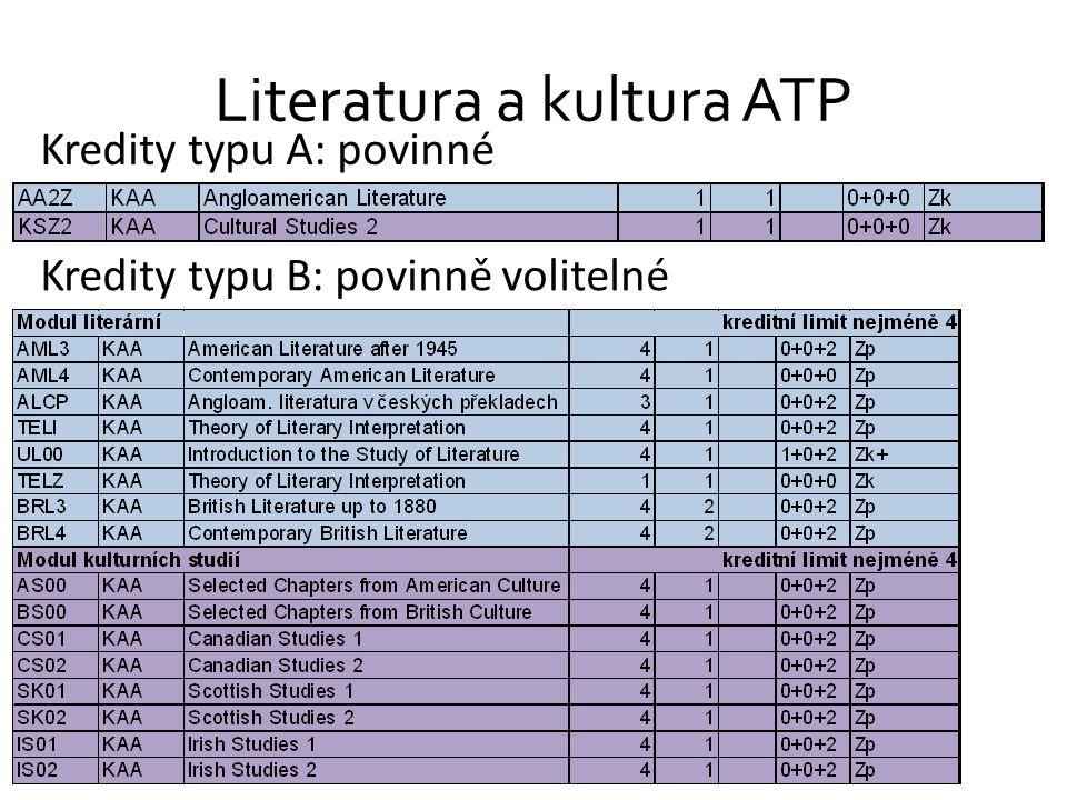 Literatura a kultura ATP Kredity typu A: povinné Kredity typu B: povinně volitelné