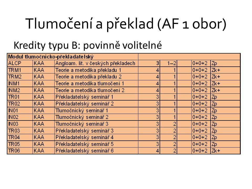 Tlumočení a překlad (AF 1 obor) Kredity typu B: povinně volitelné