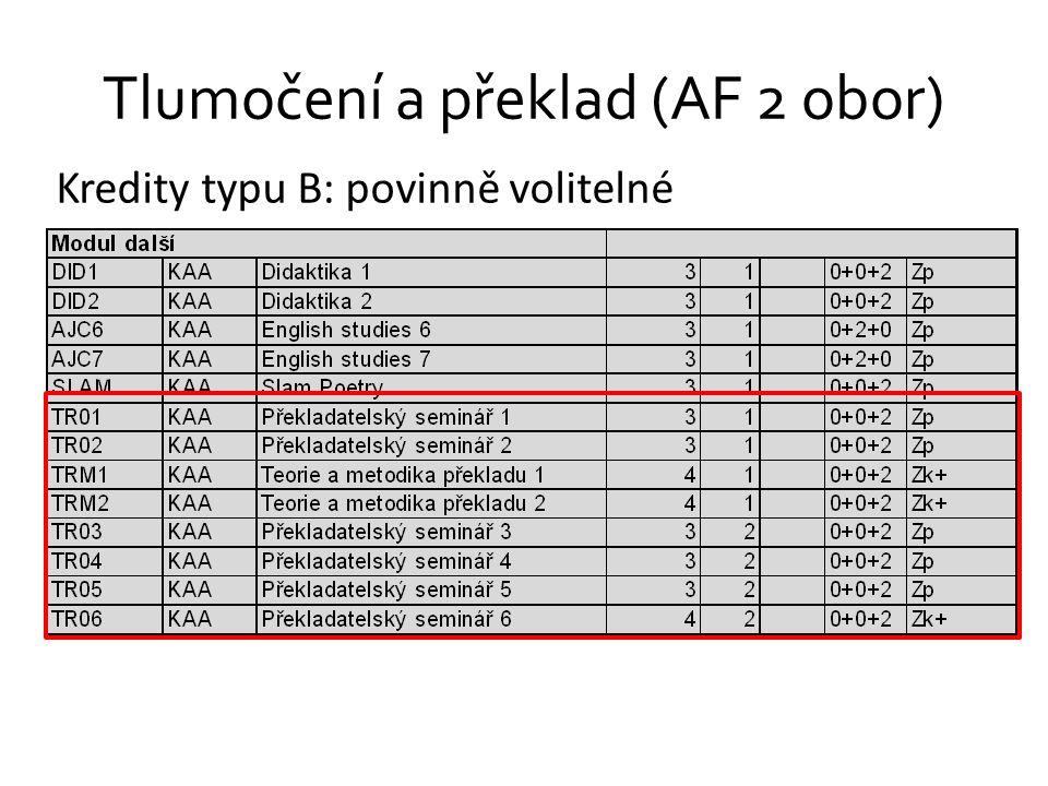 Tlumočení a překlad (AF 2 obor) Kredity typu B: povinně volitelné
