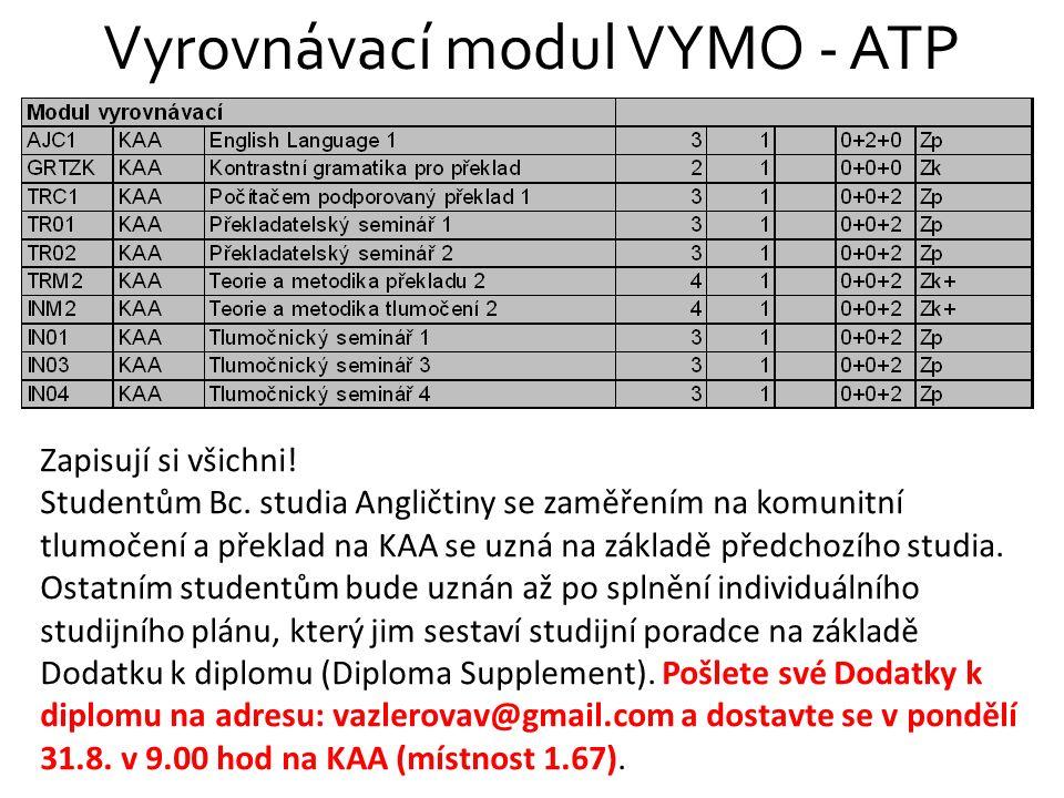 Vyrovnávací modul VYMO - ATP Zapisují si všichni! Studentům Bc. studia Angličtiny se zaměřením na komunitní tlumočení a překlad na KAA se uzná na zákl