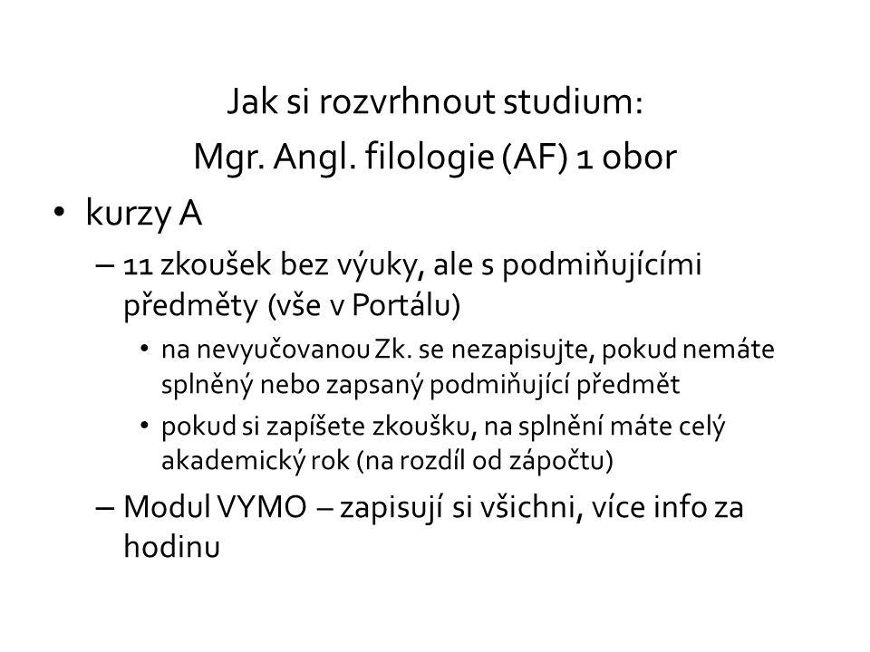 Jak si rozvrhnout studium: Mgr. Angl. filologie (AF) 1 obor kurzy A – 11 zkoušek bez výuky, ale s podmiňujícími předměty (vše v Portálu) na nevyučovan