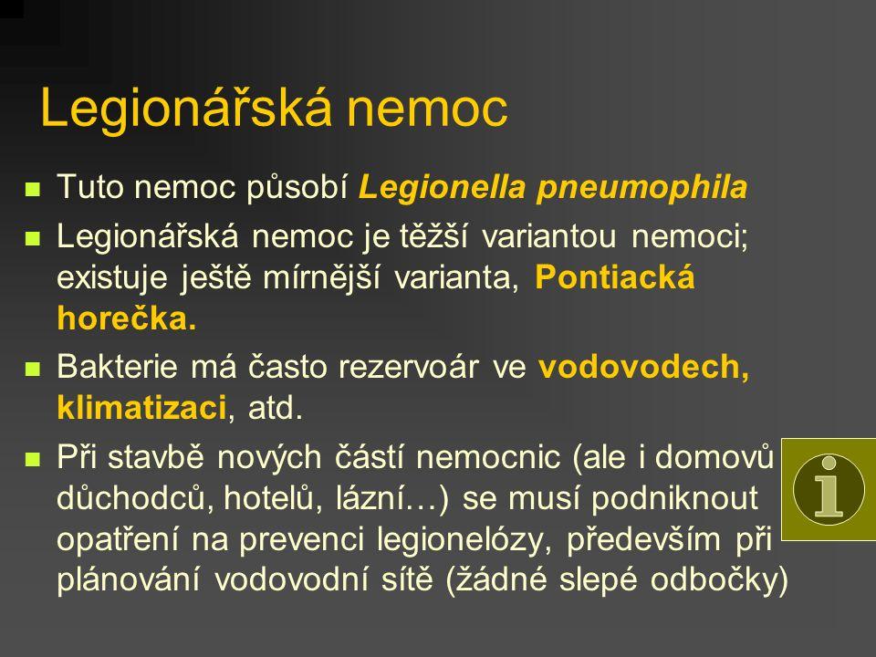 Legionářská nemoc Tuto nemoc působí Legionella pneumophila Legionářská nemoc je těžší variantou nemoci; existuje ještě mírnější varianta, Pontiacká ho