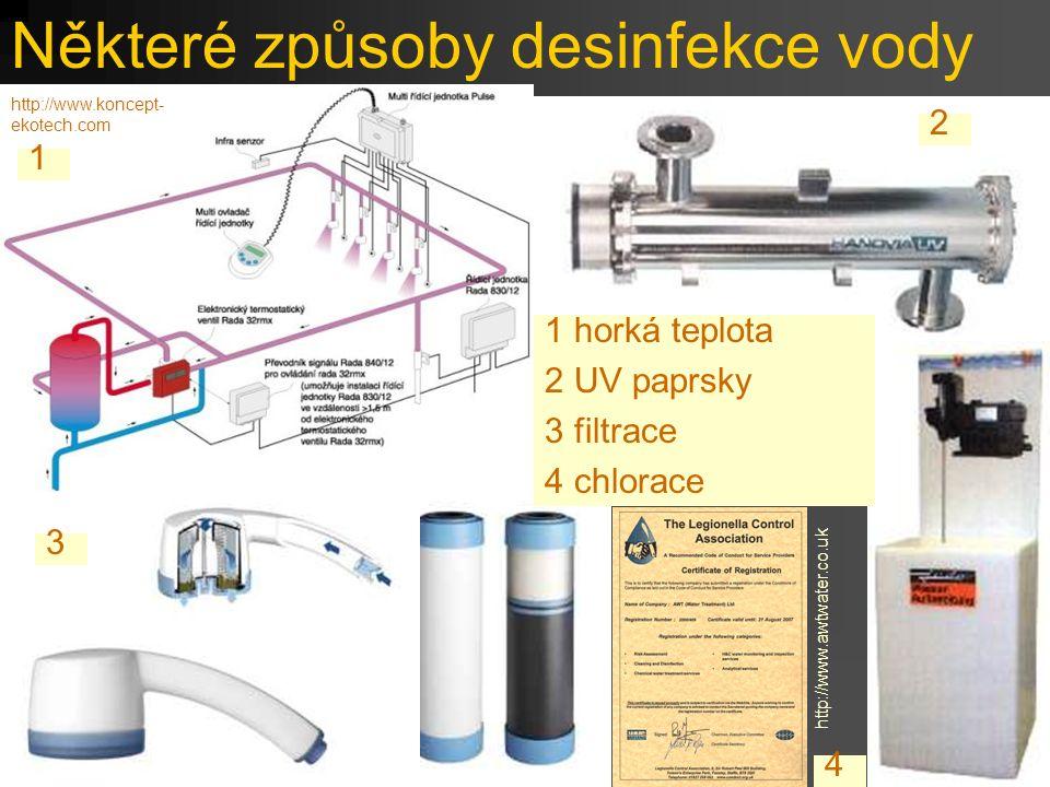 Některé způsoby desinfekce vody 1 horká teplota 2 UV paprsky 3 filtrace 4 chlorace 1 2 3 4 http://www.koncept- ekotech.com http://www.awtwater.co.uk