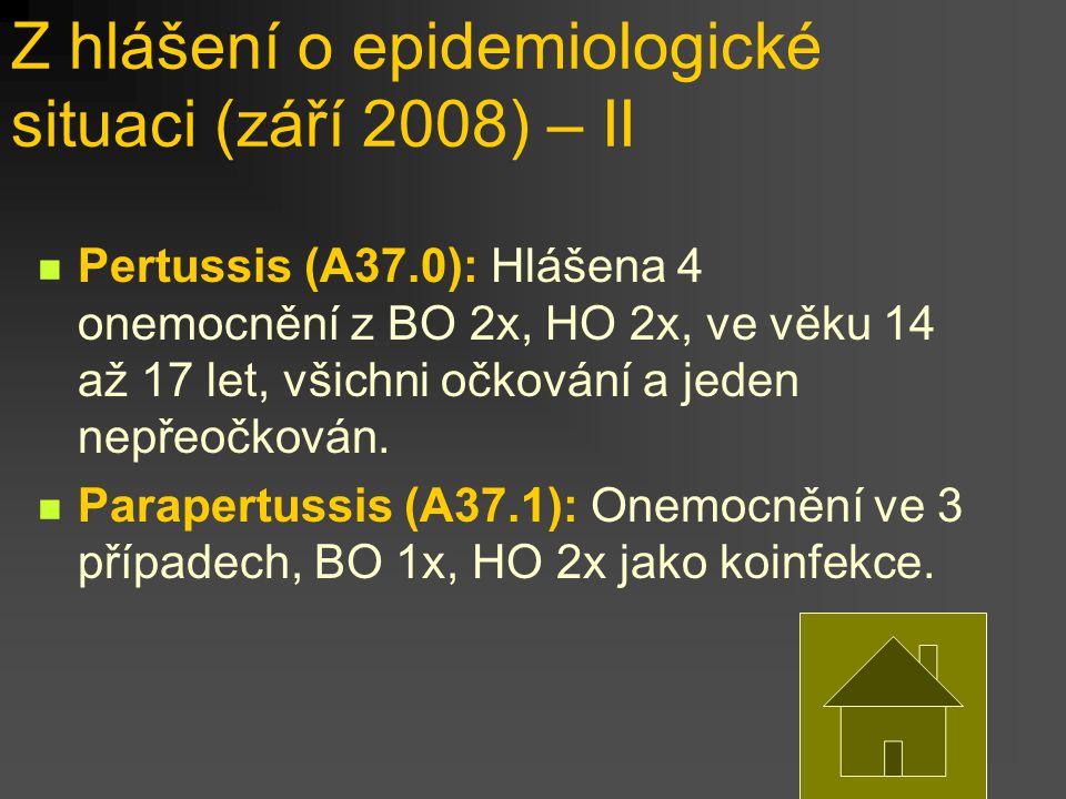 Z hlášení o epidemiologické situaci (září 2008) – II Pertussis (A37.0): Hlášena 4 onemocnění z BO 2x, HO 2x, ve věku 14 až 17 let, všichni očkování a jeden nepřeočkován.