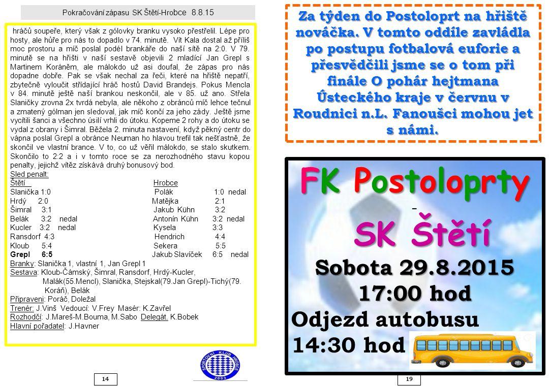 Pokračování zápasu SK Štětí-Hro bce 8.8.15 hráčů soupeře, který však z gólovky branku vysoko přestřelil. Lépe pro hosty, ale hůře pro nás to dopadlo v