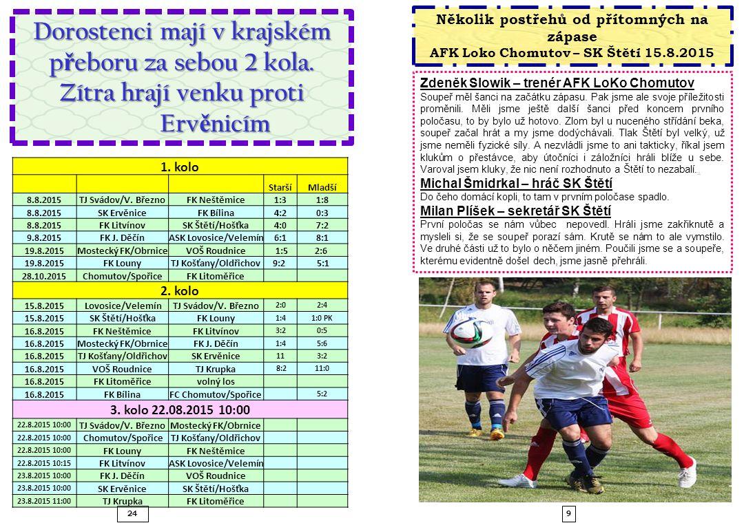 Zdeněk Slowik – trenér AFK LoKo Chomutov Soupeř měl šanci na začátku zápasu. Pak jsme ale svoje příležitosti proměnili. Měli jsme ještě další šanci př