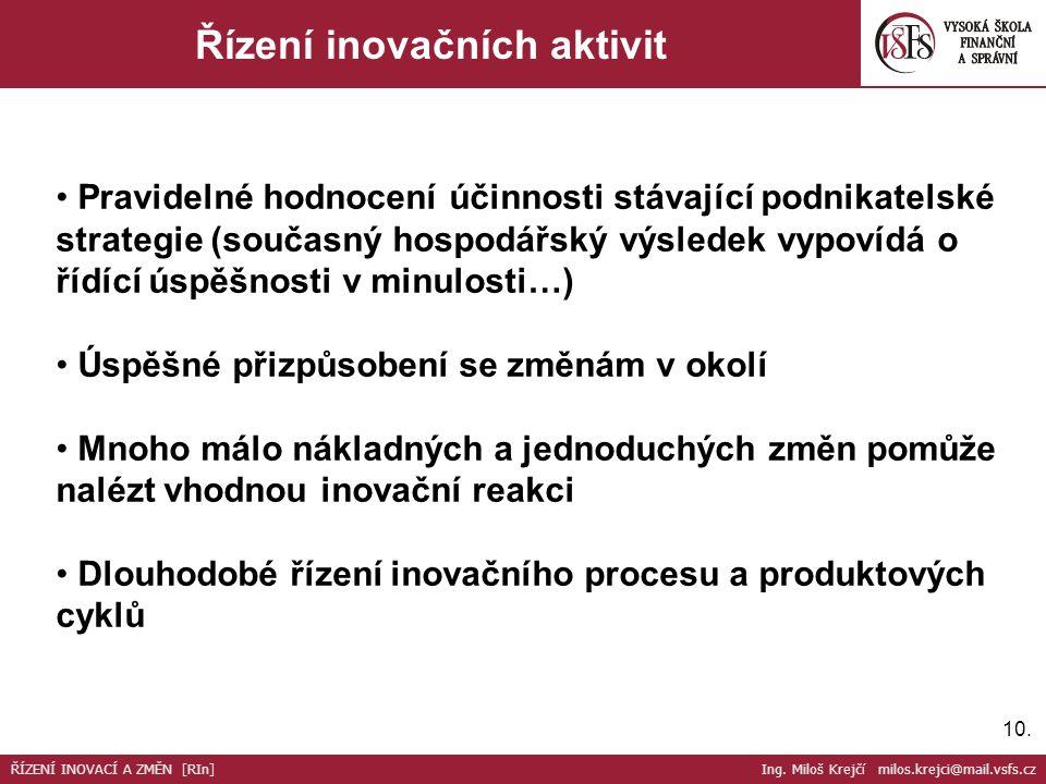 10. Řízení inovačních aktivit Pravidelné hodnocení účinnosti stávající podnikatelské strategie (současný hospodářský výsledek vypovídá o řídící úspěšn