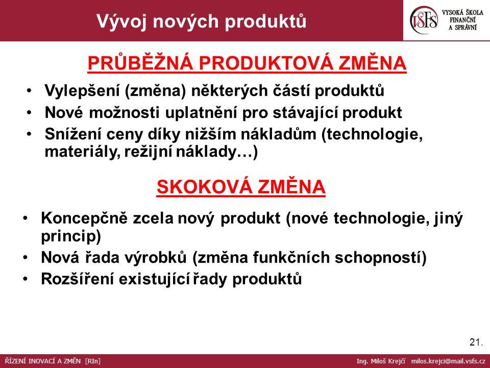 21. Vývoj nových produktů Vylepšení (změna) některých částí produktů Nové možnosti uplatnění pro stávající produkt Snížení ceny díky nižším nákladům (
