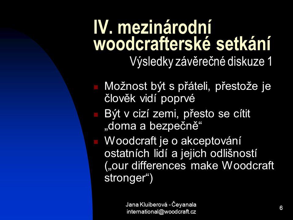 Jana Kluiberová - Čeyanala international@woodcraft.cz 6 IV.