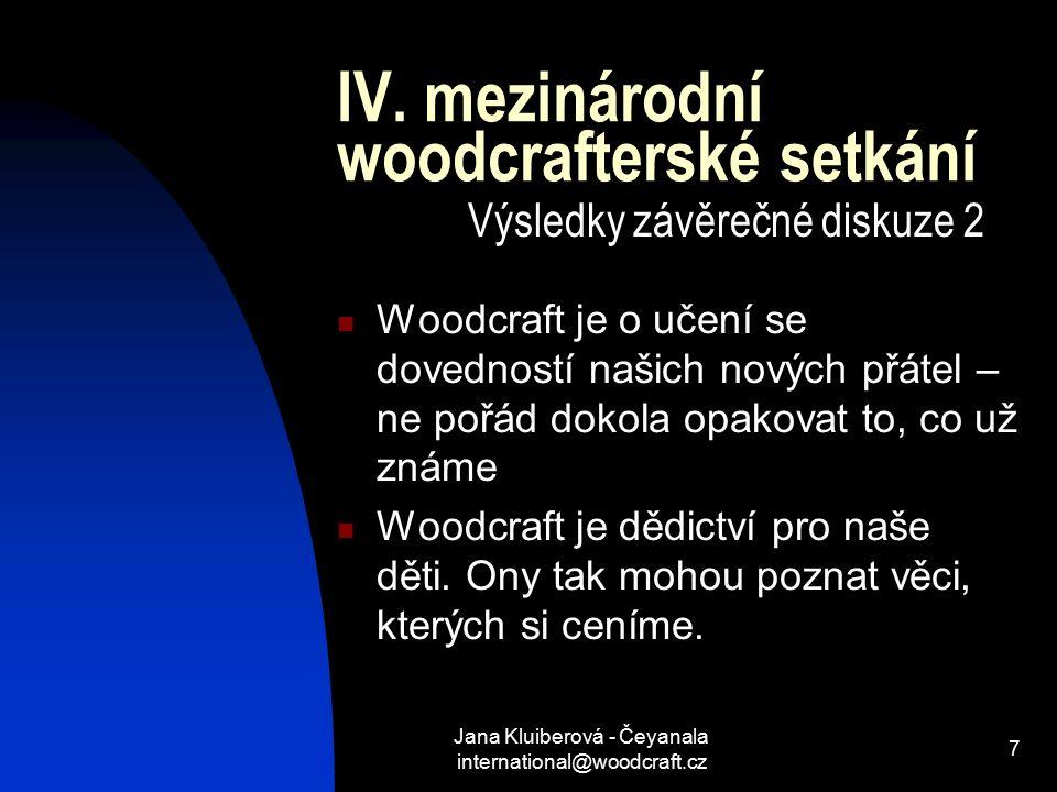 Jana Kluiberová - Čeyanala international@woodcraft.cz 7 IV.