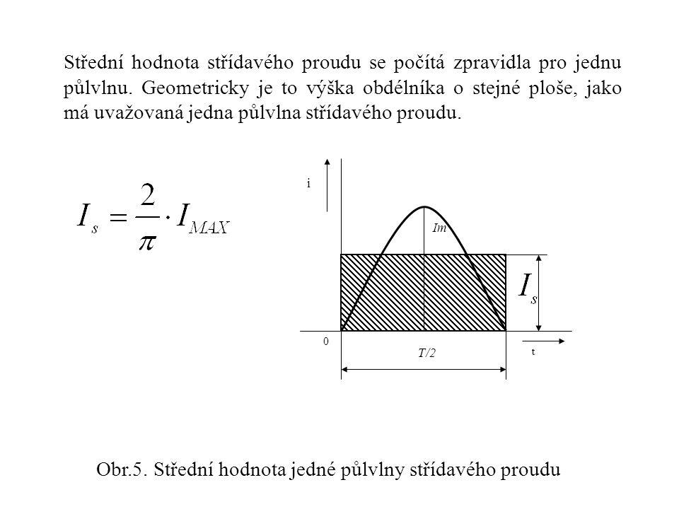 Střední hodnota střídavého proudu se počítá zpravidla pro jednu půlvlnu. Geometricky je to výška obdélníka o stejné ploše, jako má uvažovaná jedna půl