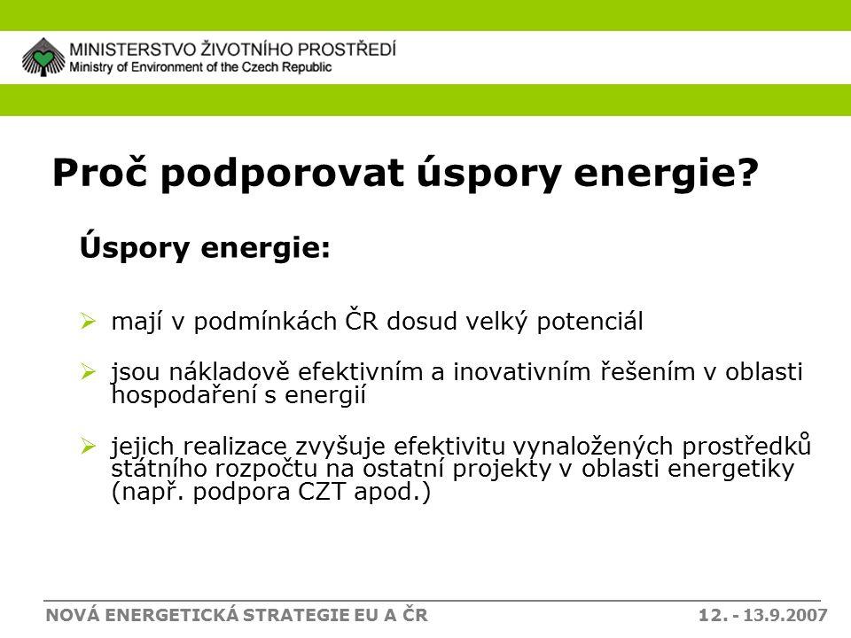 NOVÁ ENERGETICKÁ STRATEGIE EU A ČR 12. - 13.9.2007 Proč podporovat úspory energie.