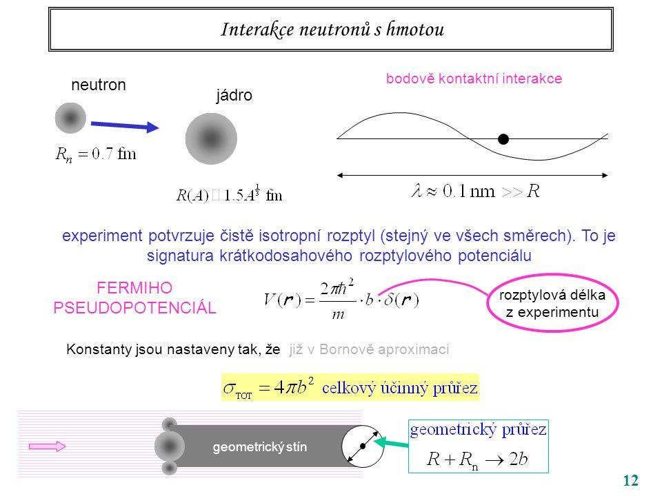 12 Interakce neutronů s hmotou neutron jádro bodově kontaktní interakce experiment potvrzuje čistě isotropní rozptyl (stejný ve všech směrech). To je