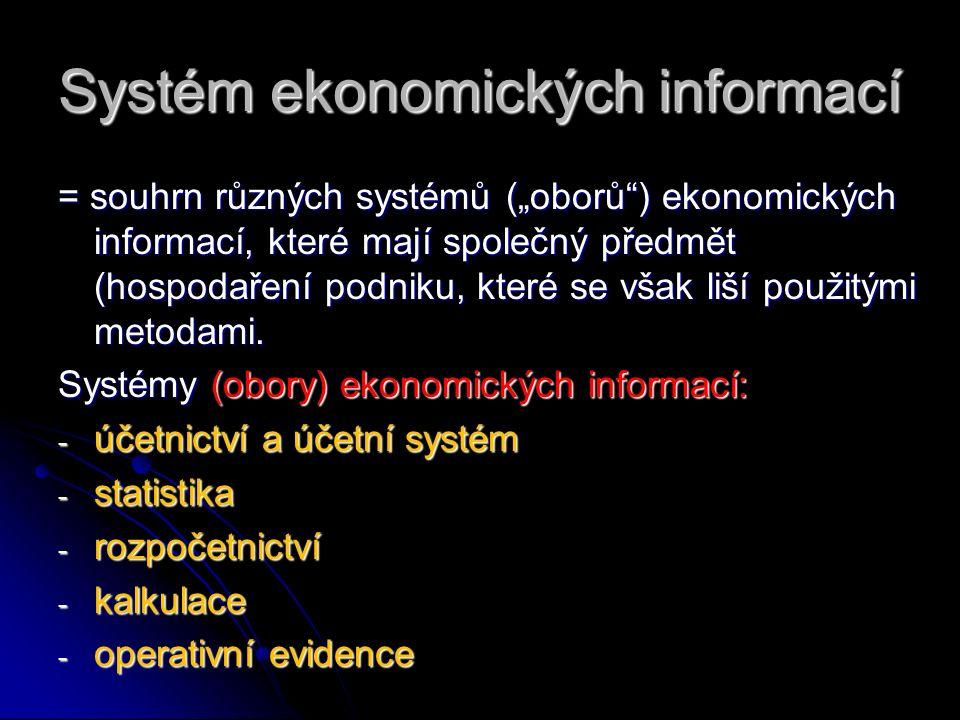 """Systém ekonomických informací = souhrn různých systémů (""""oborů ) ekonomických informací, které mají společný předmět (hospodaření podniku, které se však liší použitými metodami."""