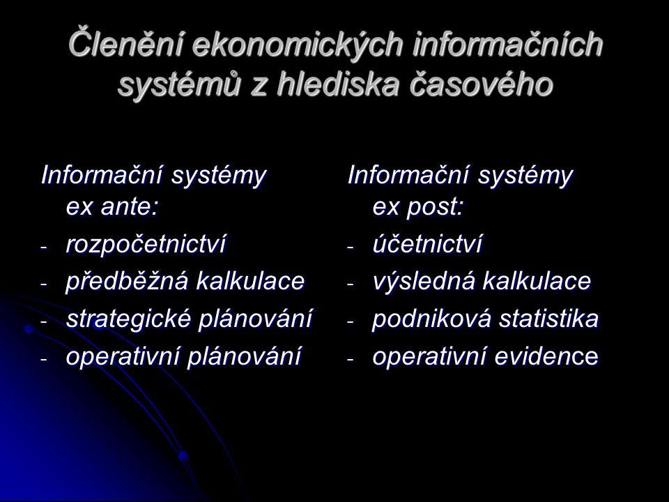 Členění ekonomických informačních systémů z hlediska časového Informační systémy ex ante: - rozpočetnictví - předběžná kalkulace - strategické plánování - operativní plánování Informační systémy ex post: - účetnictví - výsledná kalkulace - podniková statistika - operativní evidence
