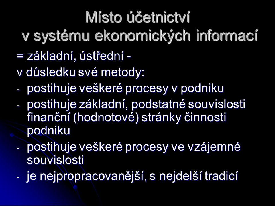 Místo účetnictví v systému ekonomických informací = základní, ústřední - v důsledku své metody: - postihuje veškeré procesy v podniku - postihuje zákl
