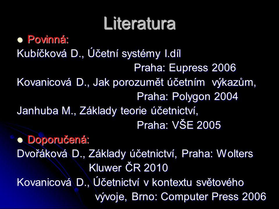 Literatura Povinná: Povinná: Kubíčková D., Účetní systémy I.díl Praha: Eupress 2006 Praha: Eupress 2006 Kovanicová D., Jak porozumět účetním výkazům,