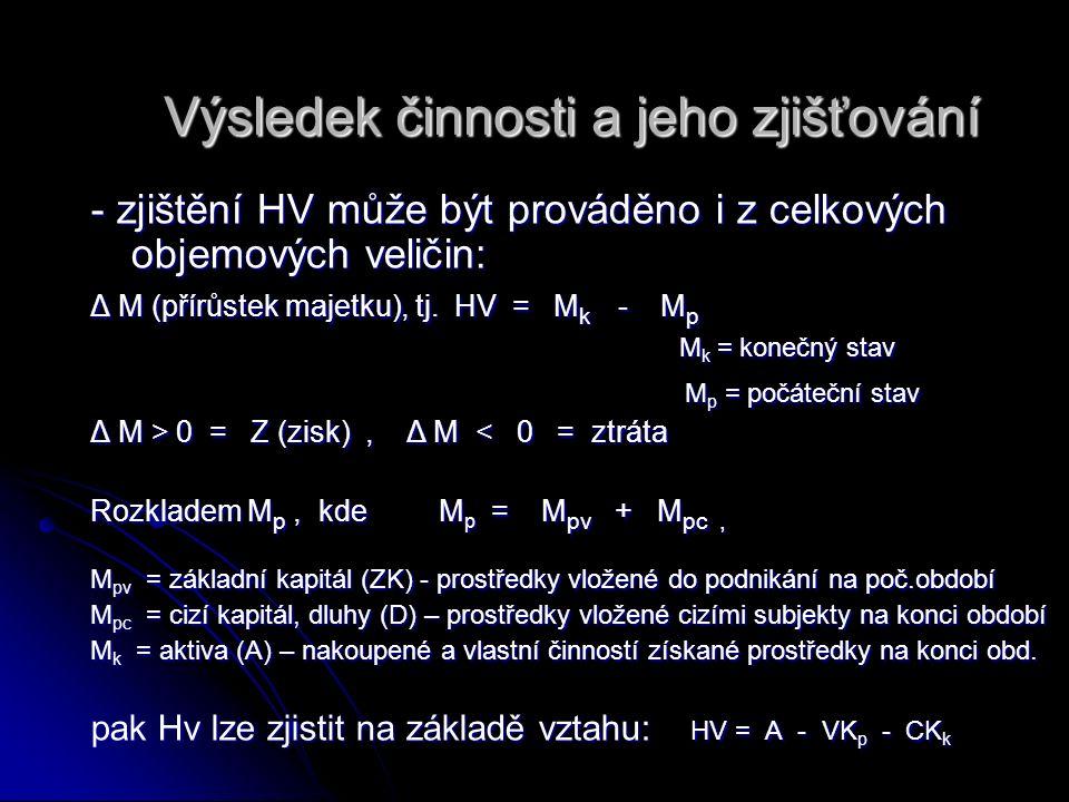 Výsledek činnosti a jeho zjišťování - zjištění HV může být prováděno i z celkových objemových veličin: Δ M (přírůstek majetku), tj. HV = M k - M p M k