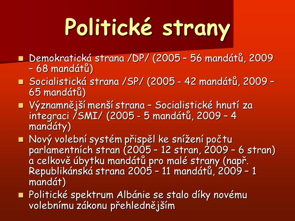 Politické strany Demokratická strana /DP/ (2005 – 56 mandátů, 2009 – 68 mandátů) Demokratická strana /DP/ (2005 – 56 mandátů, 2009 – 68 mandátů) Socia
