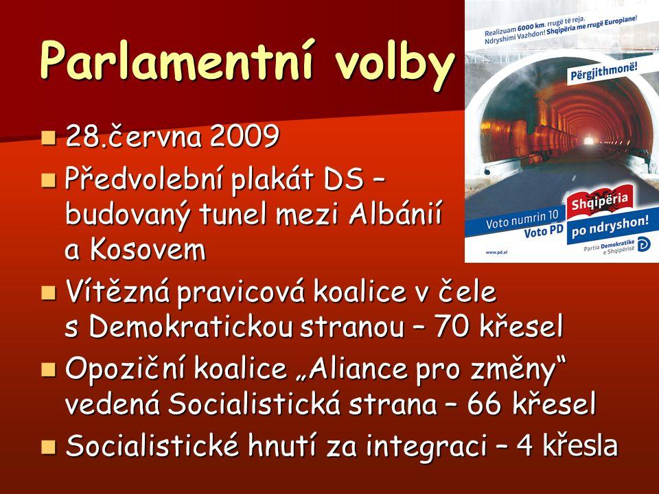 """Parlamentní volby 28.června 2009 28.června 2009 Předvolební plakát DS – budovaný tunel mezi Albánií a Kosovem Předvolební plakát DS – budovaný tunel mezi Albánií a Kosovem Vítězná pravicová koalice v čele s Demokratickou stranou – 70 křesel Vítězná pravicová koalice v čele s Demokratickou stranou – 70 křesel Opoziční koalice """"Aliance pro změny vedená Socialistická strana – 66 křesel Opoziční koalice """"Aliance pro změny vedená Socialistická strana – 66 křesel Socialistické hnutí za integraci – 4 křesla Socialistické hnutí za integraci – 4 křesla"""