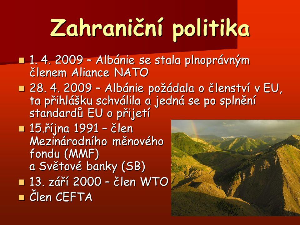 Zahraniční politika 1. 4. 2009 – Albánie se stala plnoprávným členem Aliance NATO 1. 4. 2009 – Albánie se stala plnoprávným členem Aliance NATO 28. 4.