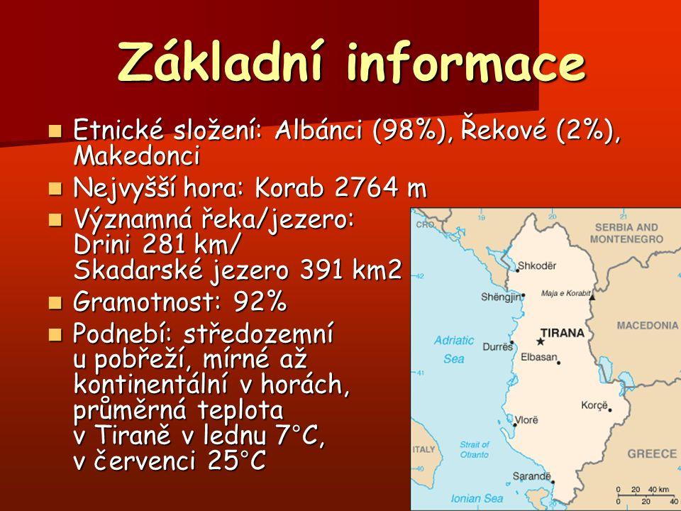 Základní informace Základní informace Etnické složení: Albánci (98%), Řekové (2%), Makedonci Etnické složení: Albánci (98%), Řekové (2%), Makedonci Ne