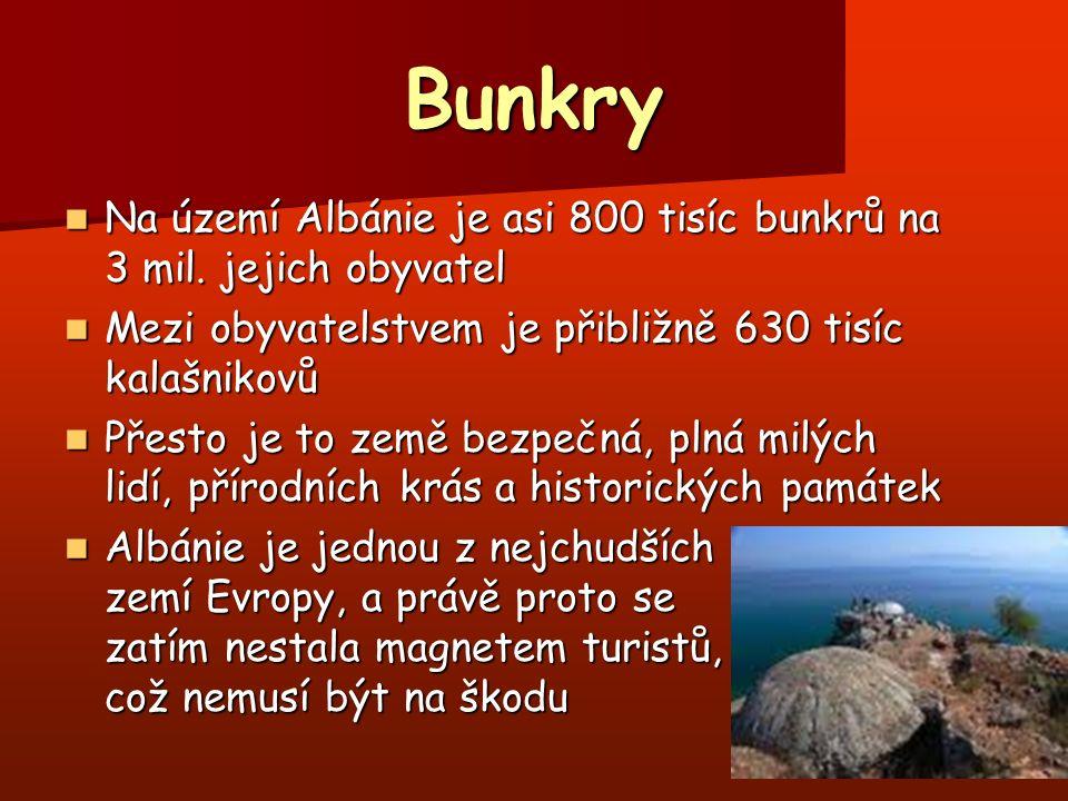 Bunkry Na území Albánie je asi 800 tisíc bunkrů na 3 mil. jejich obyvatel Na území Albánie je asi 800 tisíc bunkrů na 3 mil. jejich obyvatel Mezi obyv