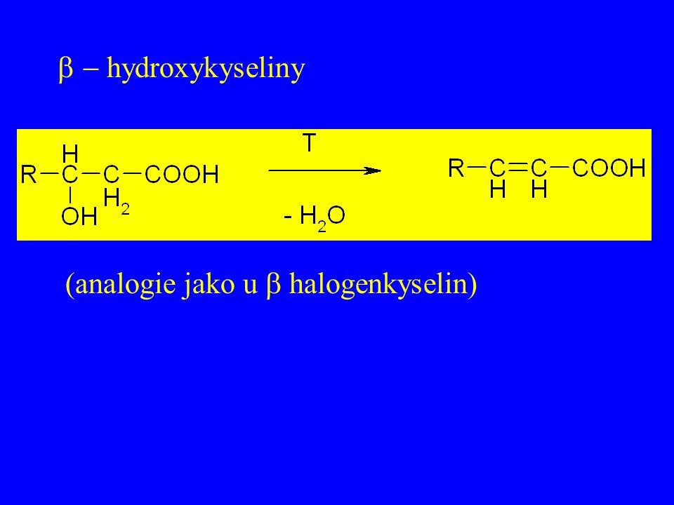  hydroxykyseliny (analogie jako u  halogenkyselin)