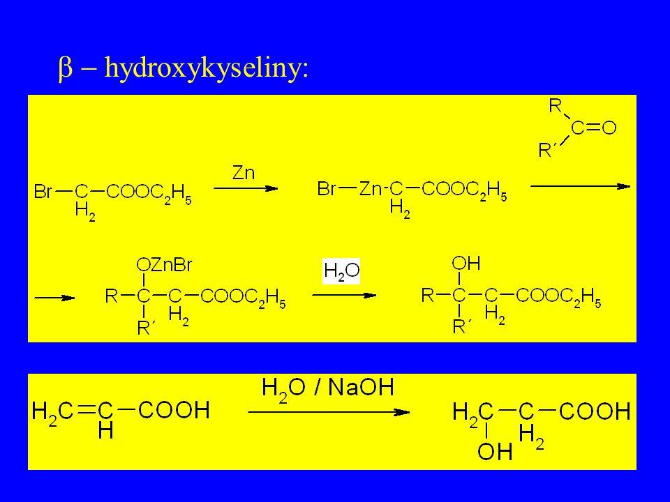 hydroxykyseliny: -z ethylenoxidu -z  laktonů