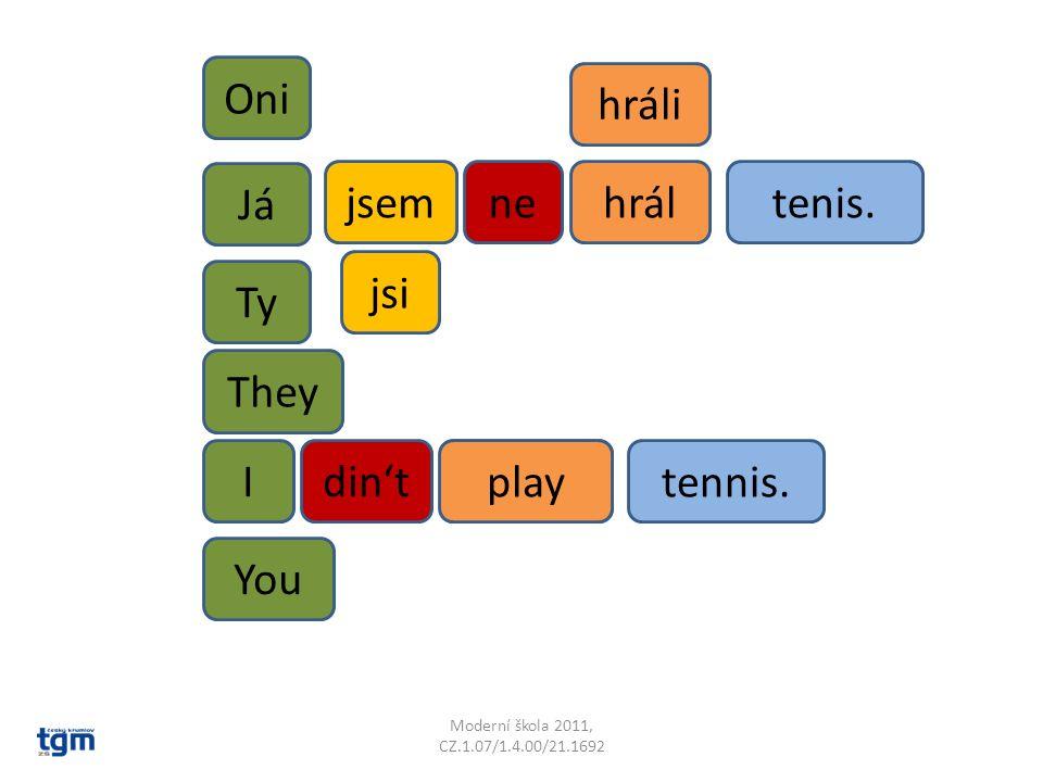 Já nehráltenis. tennis. playedIdin't Ty Oni hráli They You jsem jsi play