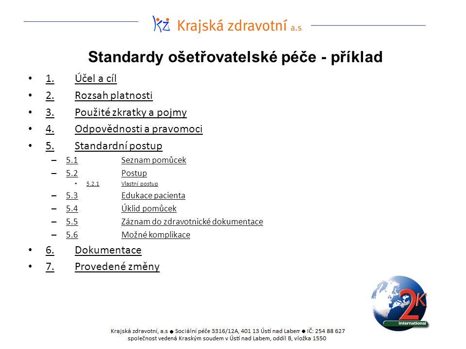 Standardy ošetřovatelské péče - příklad 1.Účel a cíl 2.Rozsah platnosti 3.Použité zkratky a pojmy 4.Odpovědnosti a pravomoci 5.Standardní postup – 5.1