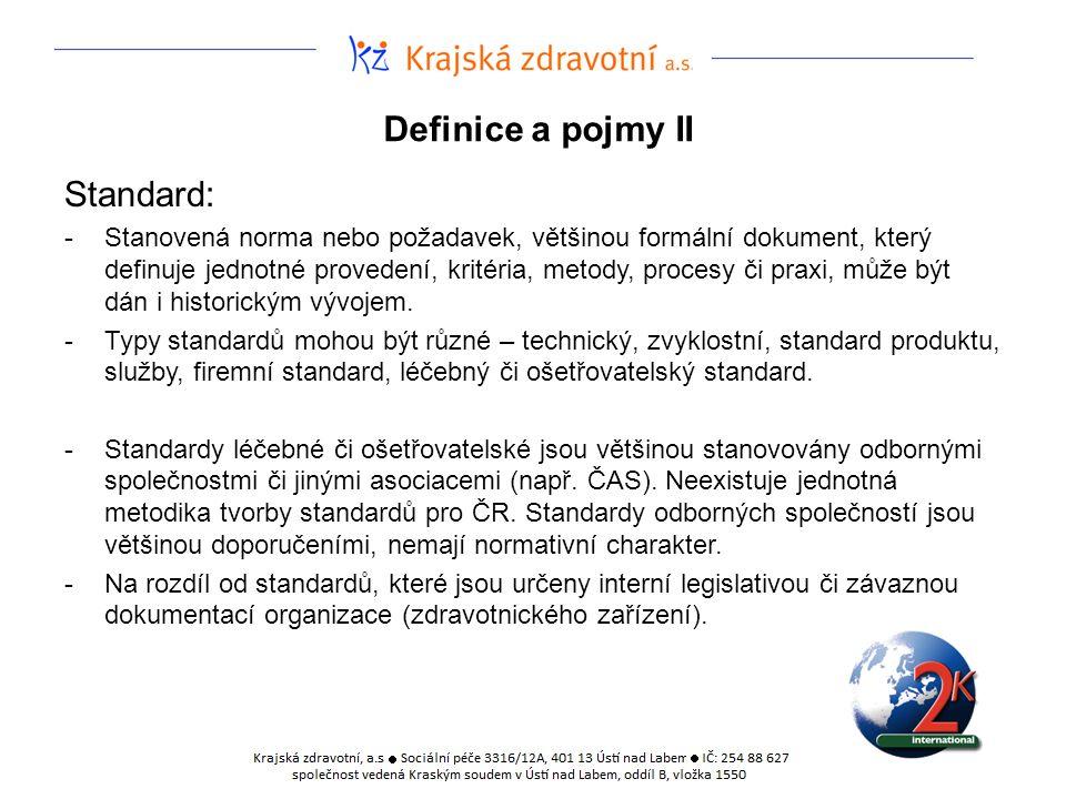 Definice a pojmy II Standard: -Stanovená norma nebo požadavek, většinou formální dokument, který definuje jednotné provedení, kritéria, metody, proces