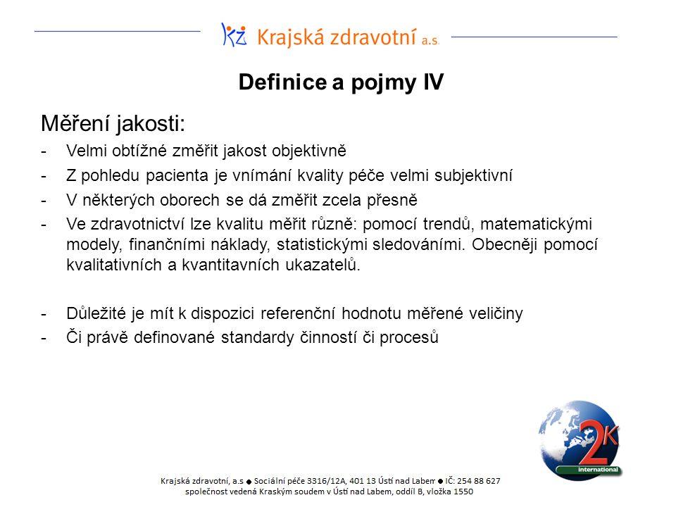 Definice a pojmy IV Měření jakosti: -Velmi obtížné změřit jakost objektivně -Z pohledu pacienta je vnímání kvality péče velmi subjektivní -V některých