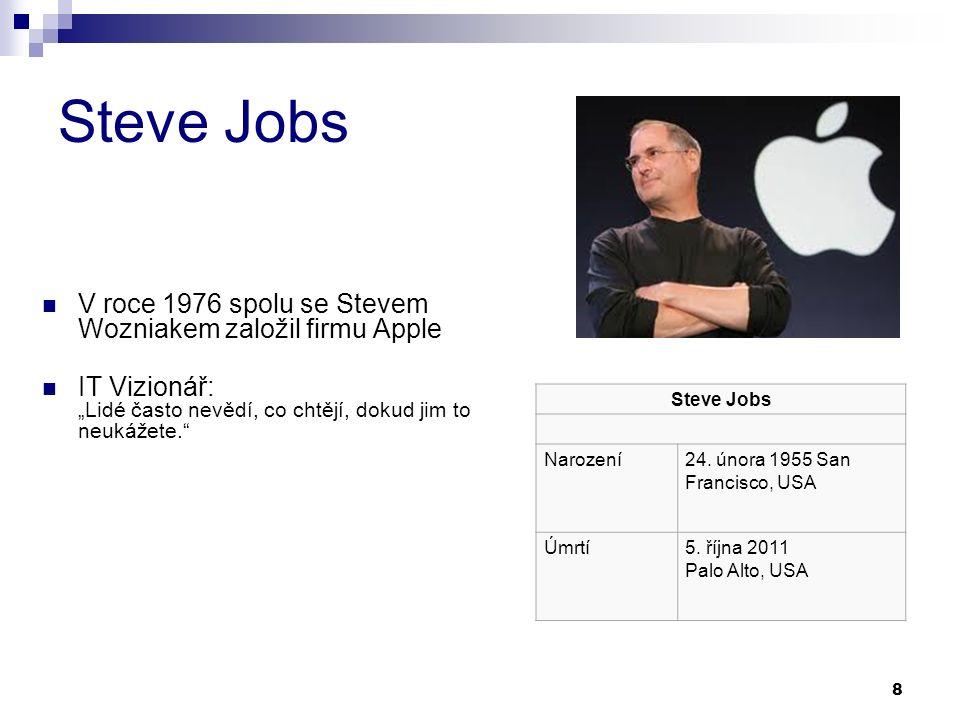 """8 Steve Jobs V roce 1976 spolu se Stevem Wozniakem založil firmu Apple IT Vizionář: """"Lidé často nevědí, co chtějí, dokud jim to neukážete. Steve Jobs Narození24."""