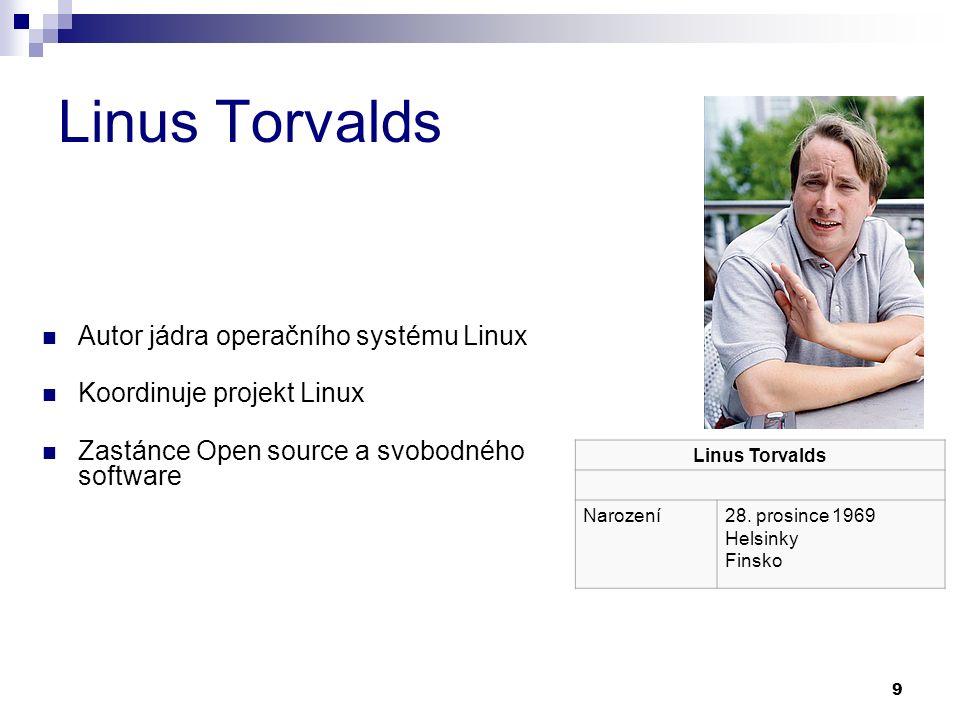 9 Linus Torvalds Autor jádra operačního systému Linux Koordinuje projekt Linux Zastánce Open source a svobodného software Linus Torvalds Narození28.