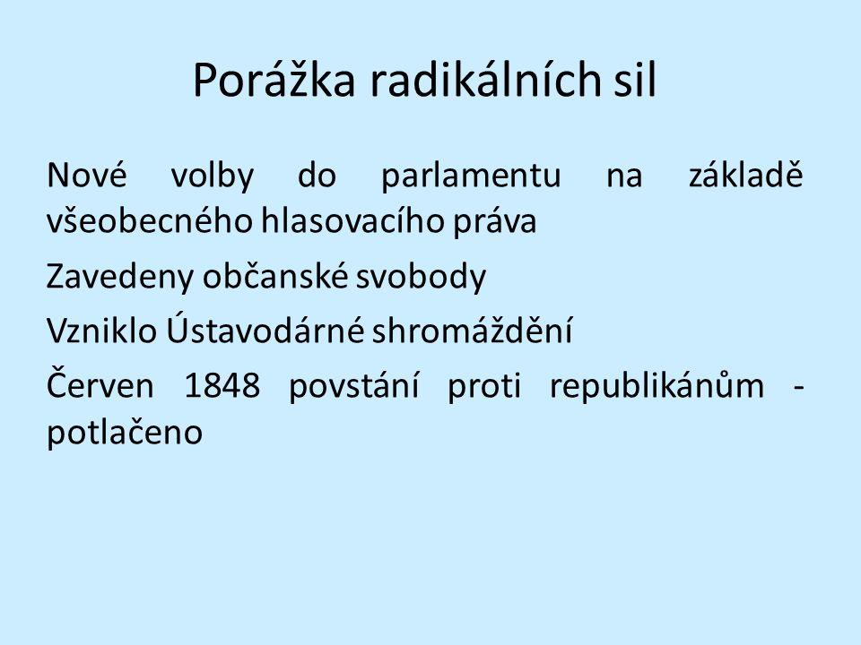 Porážka radikálních sil Nové volby do parlamentu na základě všeobecného hlasovacího práva Zavedeny občanské svobody Vzniklo Ústavodárné shromáždění Červen 1848 povstání proti republikánům - potlačeno