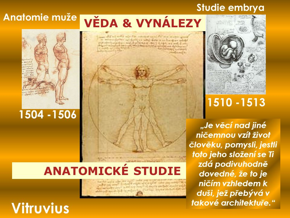 """VĚDA & VYNÁLEZY ANATOMICKÉ STUDIE Vitruvius Anatomie muže 1504 -1506 Studie embrya 1510 -1513 """"Je věcí nad jiné ničemnou vzít život člověku, pomysli, jestli toto jeho složení se Ti zdá podivuhodně dovedné, že to je ničím vzhledem k duši, jež přebývá v takové architektuře."""