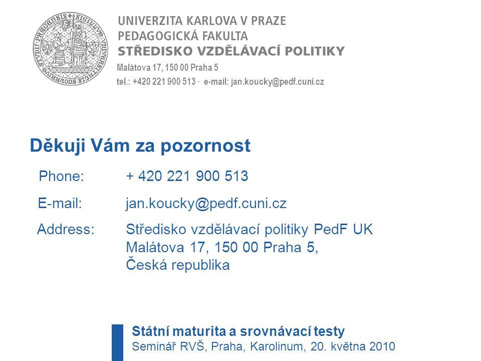 Děkuji Vám za pozornost Phone: + 420 221 900 513 E-mail:jan.koucky@pedf.cuni.cz Address: Středisko vzdělávací politiky PedF UK Malátova 17, 150 00 Praha 5, Česká republika Malátova 17, 150 00 Praha 5 tel.: +420 221 900 513 · e-mail: jan.koucky@pedf.cuni.cz Státní maturita a srovnávací testy Seminář RVŠ, Praha, Karolinum, 20.