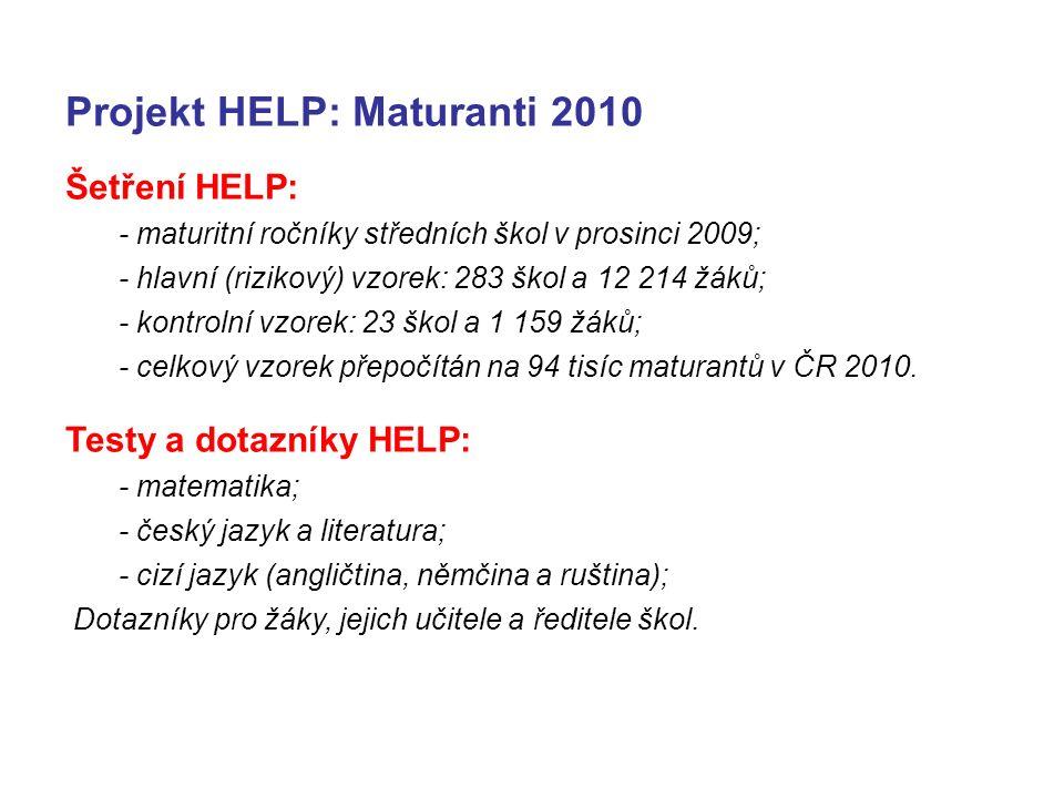 Projekt HELP: Maturanti 2010 Šetření HELP: - maturitní ročníky středních škol v prosinci 2009; - hlavní (rizikový) vzorek: 283 škol a 12 214 žáků; - kontrolní vzorek: 23 škol a 1 159 žáků; - celkový vzorek přepočítán na 94 tisíc maturantů v ČR 2010.