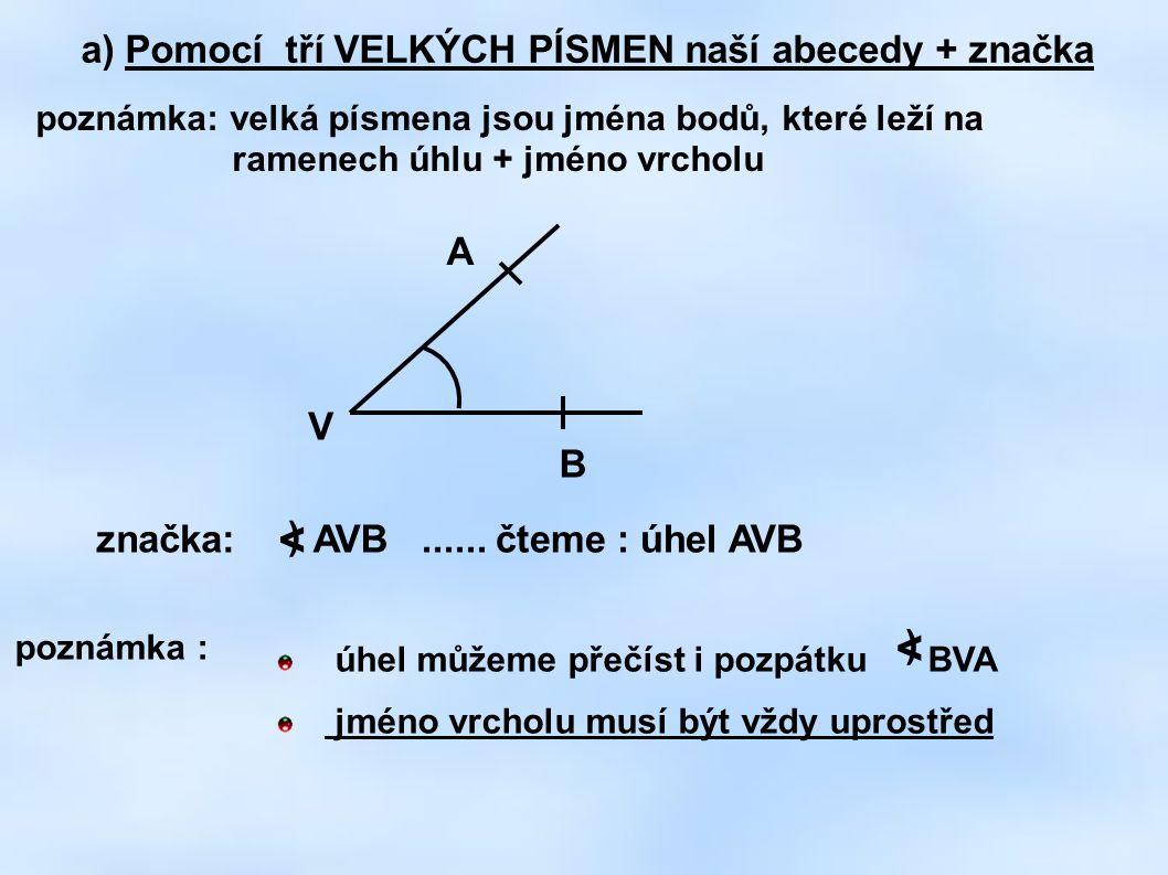 a) Pomocí tří VELKÝCH PÍSMEN naší abecedy + značka poznámka: velká písmena jsou jména bodů, které leží na ramenech úhlu + jméno vrcholu A B V značka: