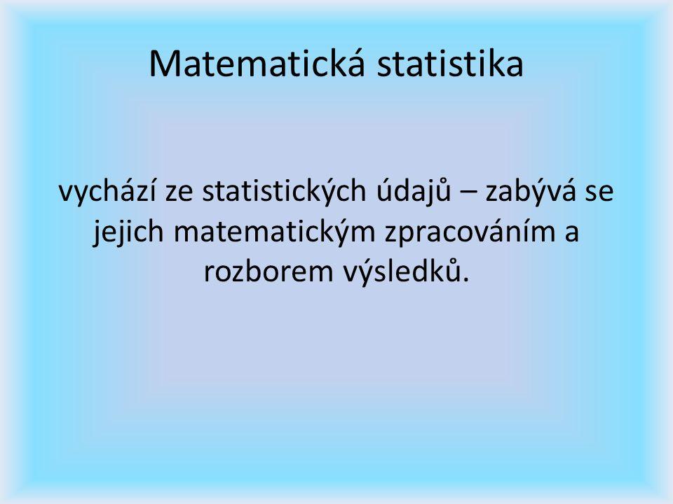 Matematická statistika vychází ze statistických údajů – zabývá se jejich matematickým zpracováním a rozborem výsledků.
