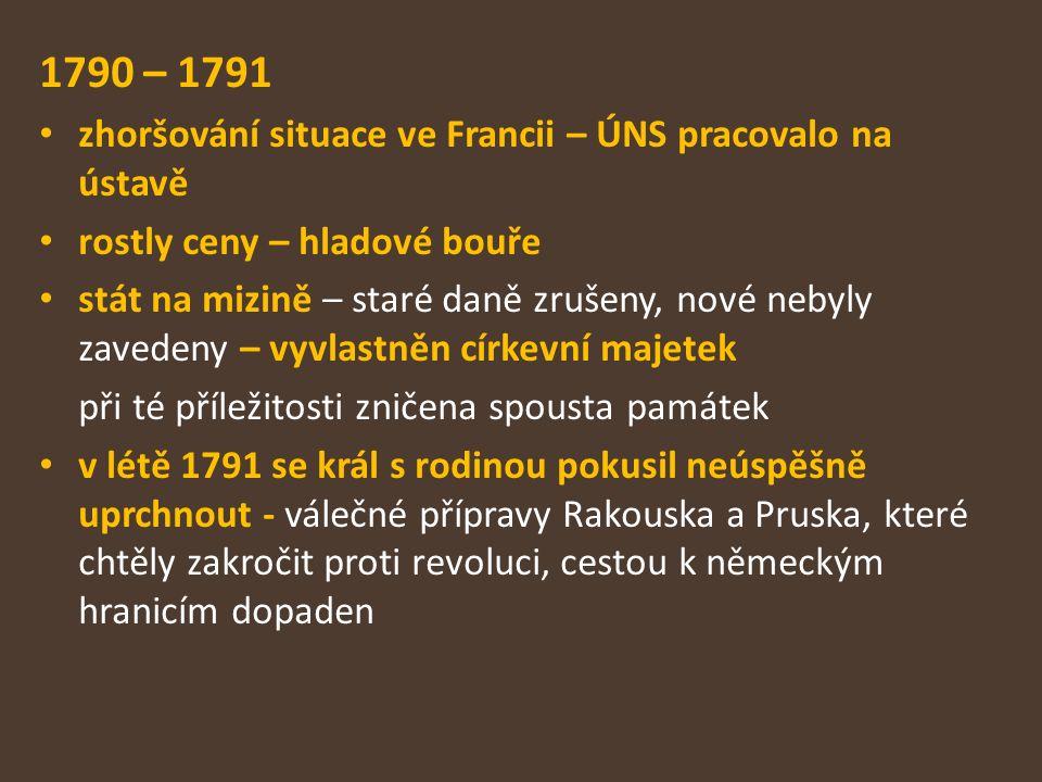 1790 – 1791 zhoršování situace ve Francii – ÚNS pracovalo na ústavě rostly ceny – hladové bouře stát na mizině – staré daně zrušeny, nové nebyly zaved