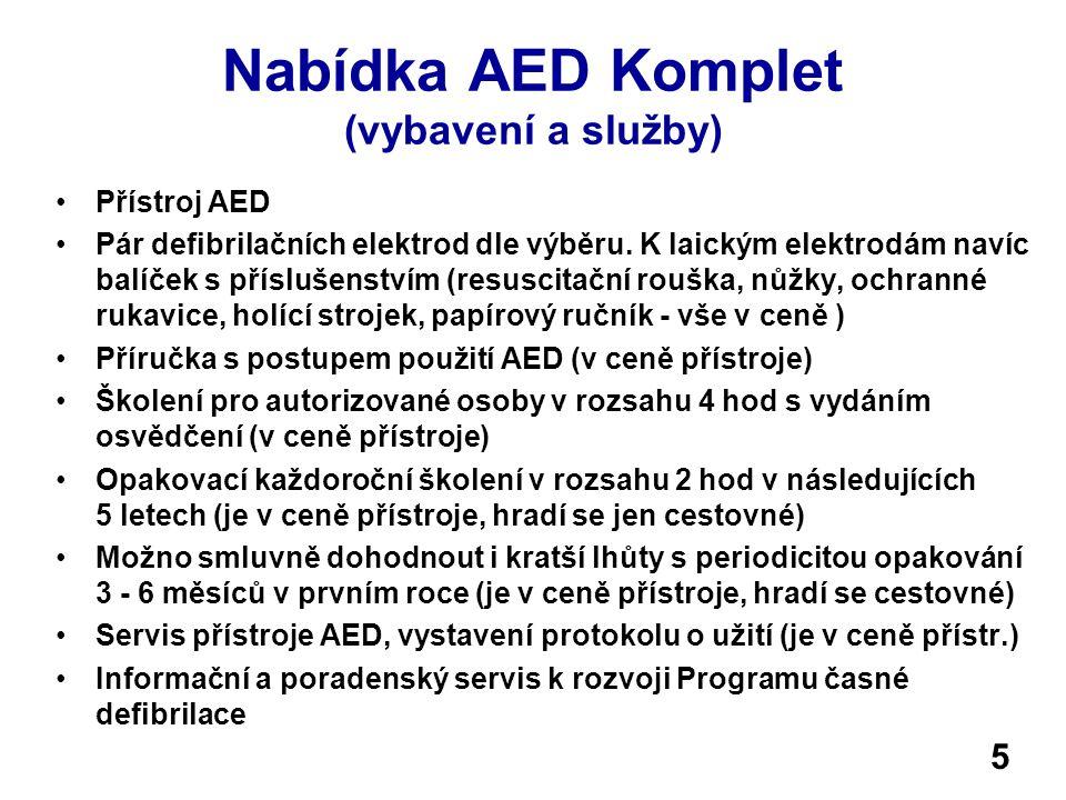 Nabídka AED Komplet (vybavení a služby) Přístroj AED Pár defibrilačních elektrod dle výběru. K laickým elektrodám navíc balíček s příslušenstvím (resu