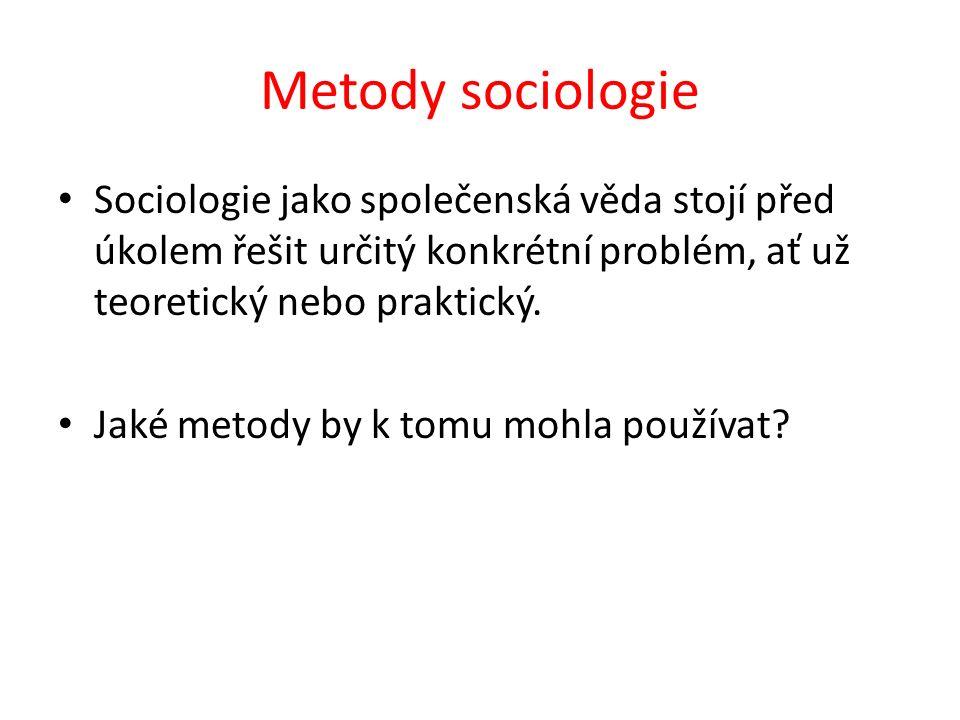 Metody sociologie Sociologie jako společenská věda stojí před úkolem řešit určitý konkrétní problém, ať už teoretický nebo praktický.