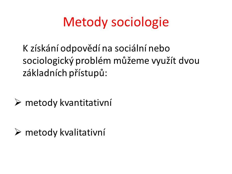 Metody sociologie K získání odpovědí na sociální nebo sociologický problém můžeme využít dvou základních přístupů:  metody kvantitativní  metody kvalitativní