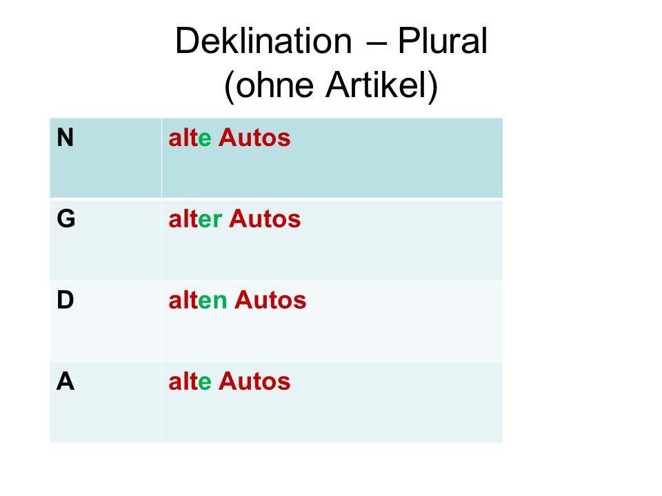 Deklination – Plural (ohne Artikel) Nalte Autos Galter Autos Dalten Autos Aalte Autos